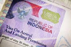 Indonesien-Visum lizenzfreies stockfoto