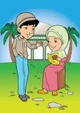 Het Indonesische moslimpaar spreken Stock Afbeelding