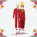Indonesische Hochzeitspaare, die Betawi, Jakarta-Trachtenkleid, Karikaturvektorillustration tragen Lizenzfreies Stockbild