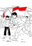 Indonesische jong geitje het vieren onafhankelijkheidsdag Stock Foto