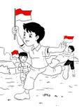Indonesische jonge geitjes die onafhankelijkheidsdag vieren Royalty-vrije Stock Afbeeldingen