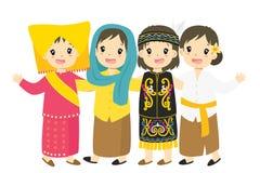 Indonesische Meisjes die de Traditionele Vector van het Kledingsbeeldverhaal dragen royalty-vrije illustratie