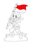 Indonesische militair die nationale vlag houden Stock Fotografie