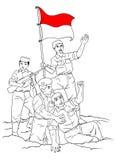 Indonesische Militair in het midden van oorlog Royalty-vrije Stock Foto's
