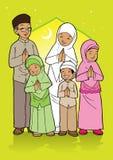 Indonesische moslemische Familie Stockfoto