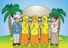 Indonesische moslimjonge geitjesgroeten Stock Foto's