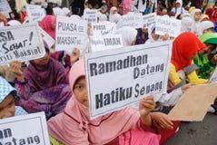 INDONESISCHE MOSLIMorganismen VOOR DOODSTRAF AAN DRUGDEALERS Stock Afbeelding