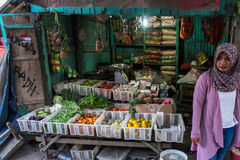 Indonesische Plantaardige Verkoper Stock Fotografie