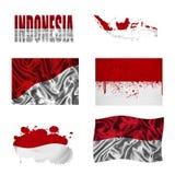 Indonesische vlagcollage Royalty-vrije Stock Afbeeldingen