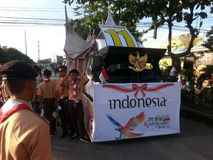 Indonesische vlotter in kadayawan festival in davao stock afbeeldingen