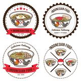 Indonesische voedselreeks kentekensontwerpsjablonen en emblemenillustraties stock afbeelding