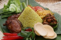 Indonesischer gelber Reis Stockbild