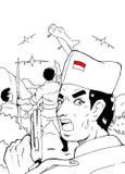 Indonesischer Soldat, der im Krieg kämpft Lizenzfreie Stockbilder