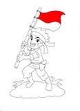 Indonesischer Soldat, der Staatsflagge hält Stockfotografie