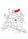 Indonesischer Soldat mitten in Krieg Stockbild
