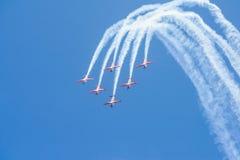 Indonesisches Luftwaffen-Jupiter Aerobatic-Team in Singapur Airshow Lizenzfreie Stockfotos