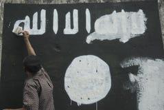 INDONESISK INTELLIGENS ATT HÅLLA ÖGONEN PÅ DEN EXTREMISTISKA GRUPPEN PÅ ISLAMISK STATFRÅGOR Royaltyfri Fotografi