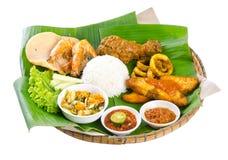 Indonesisk mat, höna, fisk och grönsaker arkivbild