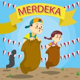 Indonesiska berömmar för självständighetsdagen för republik` s stock illustrationer