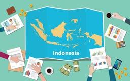 Indonezja kraju narodu wzrostowa drużyna dyskutuje z fałd map widokiem od wierzchołka ilustracji