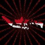 Indonezja mapy flaga na czerwonej hex kodu wybuchu ilustraci Fotografia Stock