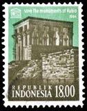 Indonezja na znaczkach pocztowych fotografia stock