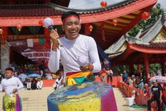 Indonezja Perkusja muzyczny występ podczas chińskiego nowego roku świętowania Fotografia Stock