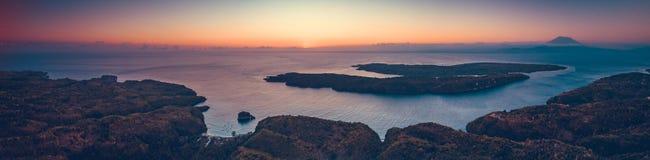 Indonezyjska linia brzegowa, ocean Panoramiczny przegląd zdjęcie stock