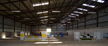 Indoor Arena of Horse jumps Stock Photos
