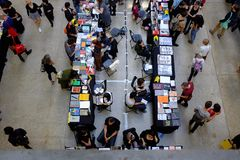 Indoor art book fair royalty free stock photography