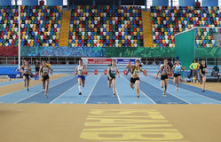 Indoor Athletics Record Attempt Races Stock Images