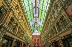 Passage Mall - Odessa, Ukraine. Indoor atrium of Odessa `Passage` - old covered mall and architectural monument Royalty Free Stock Photos