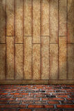Indoor background, brown wood wall, red brick floor Stock Photos
