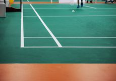 Indoor badminton court. Selective focus royalty free stock images