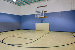 Indoor basketball court. Indoor hardwood basketball court, as typically found in a gym Stock Photo
