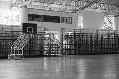 indoor basketball court field and grandstand, black and white Stock Photography