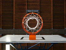 Indoor basketball hoop from below Stock Image