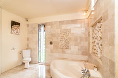 Indoor Bathup with ceramics wall Royalty Free Stock Photography