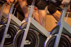 Indoor bicycle cycling in gym. Group of four people spinning in the gym, exercising their legs doing cardio training Royalty Free Stock Photos