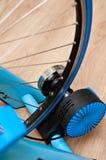Indoor bike trainer Stock Photo