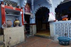 Indoor of a blue bramhin house in Jodhpur Royalty Free Stock Photo