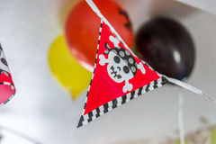 Indoor boys pirate birthday festive banner decoration Royalty Free Stock Photography