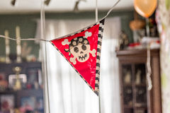 Indoor boys pirate birthday festive banner decoration.  Royalty Free Stock Image