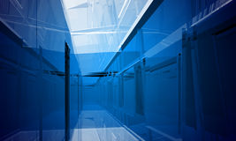 Indoor building. Office space. With blue light effects Royalty Free Stock Photo