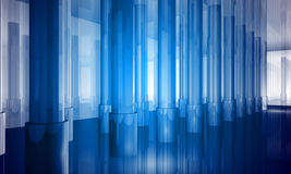 Indoor building. Office space. With blue light effects Royalty Free Stock Image