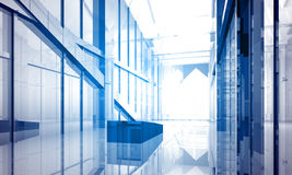 Indoor building. Office space. With blue light effects Royalty Free Stock Photography