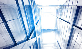 Indoor building. Office space. With blue light effects Stock Photography