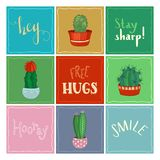 Vector set of cactus icons with hand-written lettering. Royalty Free Stock Photo