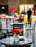 Indoor cafeteria coffee shop space with orange flowers stock photo