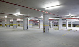Indoor car parking is empty. Indoor car parking, general appearance stock photo